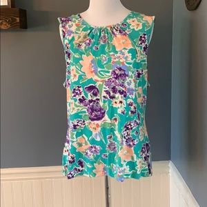 Chaps NWT Green Floral Sleeveless Top XL